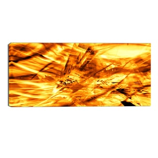 Design Art 'Yellow Sandstorm' Modern Canvas Art Print - 32x16 Inches