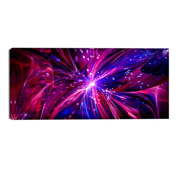 Design Art 'Pink and Purple Dreams Come True' Contemporary Canvas Art Print - 32x16 Inches