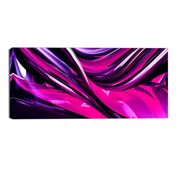 Design Art 'Pink & Purple Ribbons' Modern Canvas Art Print - 32x16 Inches