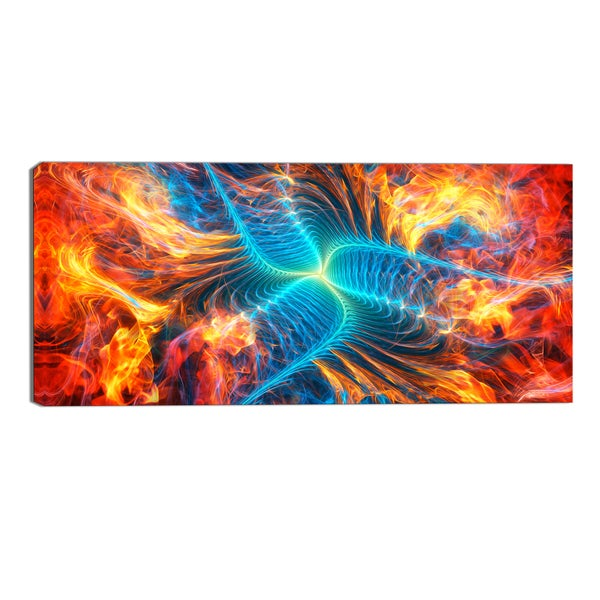 Design Art 'Electric Fire' Modern Canvas Art Print - 32x16 Inches