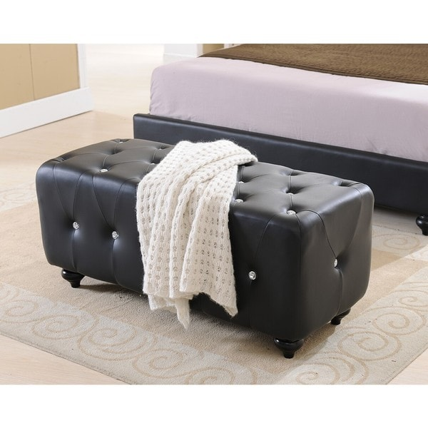 K & B Black Faux Leather Upholstered Bench