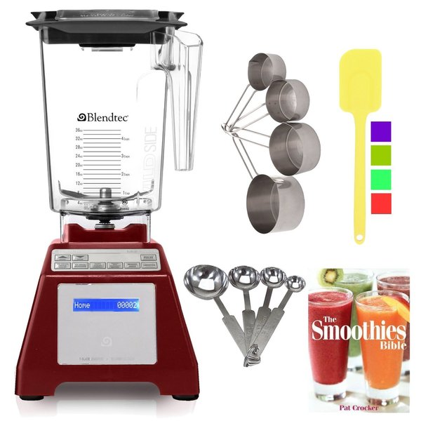 Blendtec TB-631-25 Total Blender Classic + WildSide Jar (Red) + Smoothies Bible + Kitchen Accessory Bundle (Refurbished)