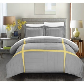Chic Home 7-piece Delphia Pleated Patchwork Color Block Duvet Cover with Sheet Set