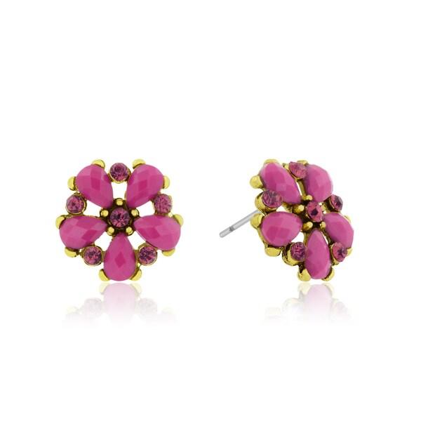 Passiana Dainty Flower Crystal Earrings, Pink