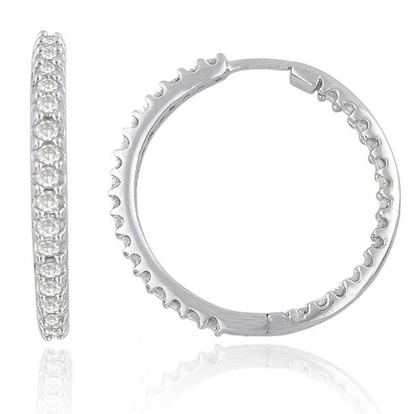 1 Cttw White Diamond Inside-Out hoops in 14K gold