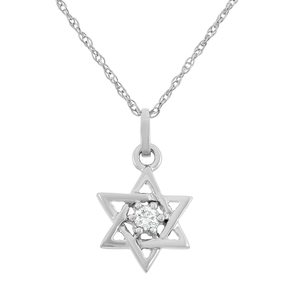 0.05 CT White Diamond Star Pendant in 10K White Gold