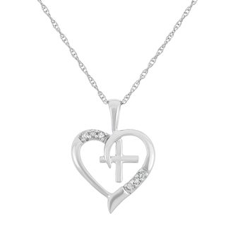 0.03 CT Heart and Cross Pendant in 10K White Gold