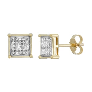 10K Yellow Gold 1/6ct TDW Micro Pave Diamond Earring