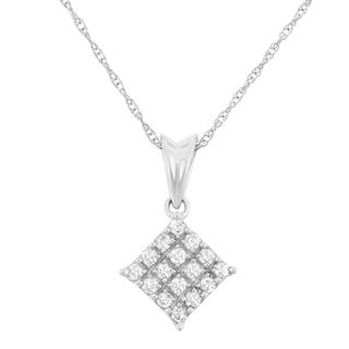 10k White Gold 1/5ct TDW Diamond Square Pendant