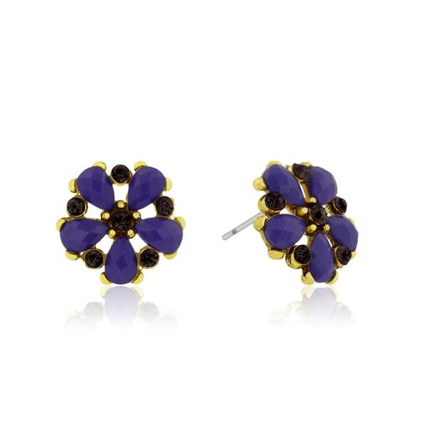 Passiana Dainty Flower Crystal Earrings, Purple
