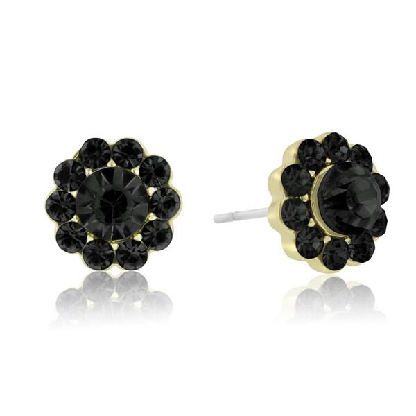Passiana Mini Flower Crystal Earrings, Black