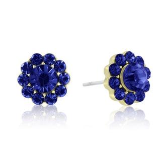 Passiana Mini Flower Crystal Earrings, Blue
