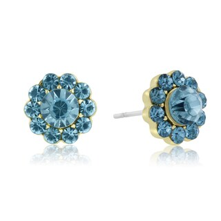 Adoriana Mini Flower Crystal Earrings, Turquoise