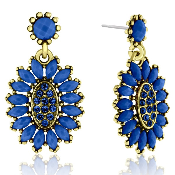 Adoriana Cluster Flower Crystal Earrings, Blue 16176035