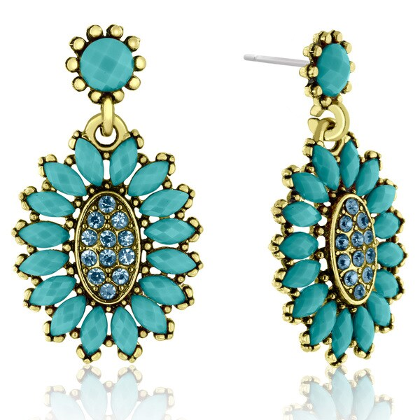 Passiana Cluster Flower Crystal Earrings, Turquoise