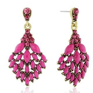 Adoriana Cascading Crystal Earrings, Pink