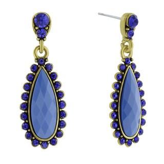 Adoriana Drop Crystal Earrings, Blue