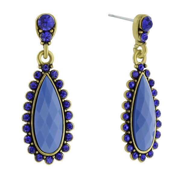 Passiana Drop Crystal Earrings, Blue