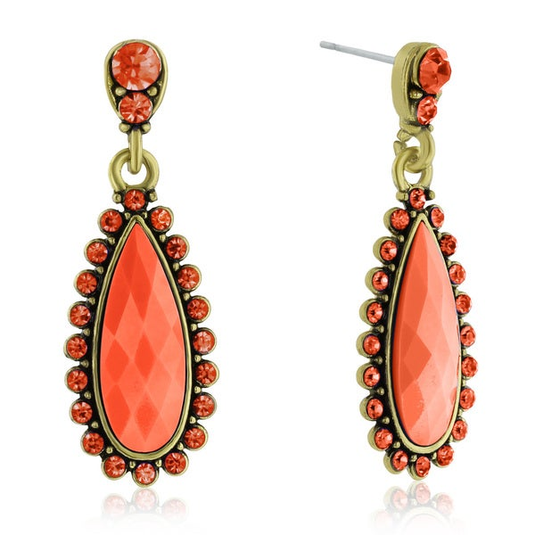Passiana Drop Crystal Earrings, Orange