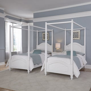 Home Styles Bermuda Two Twin Canopy Beds and Night Stand