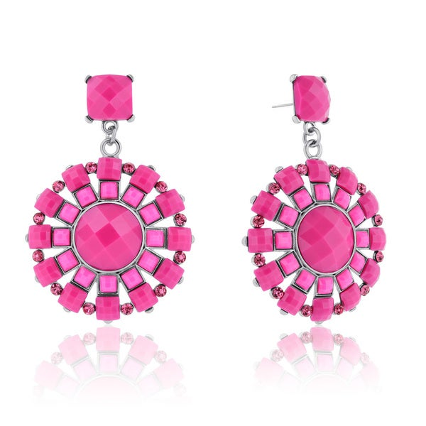 Passiana Spring Crystal Earrings, Pink