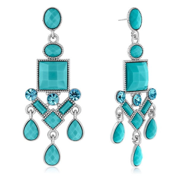 Passiana Chandelier Crystal Earrings, Turquoise