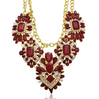 Passiana Ruby Red Crystal Floral Bib Necklace
