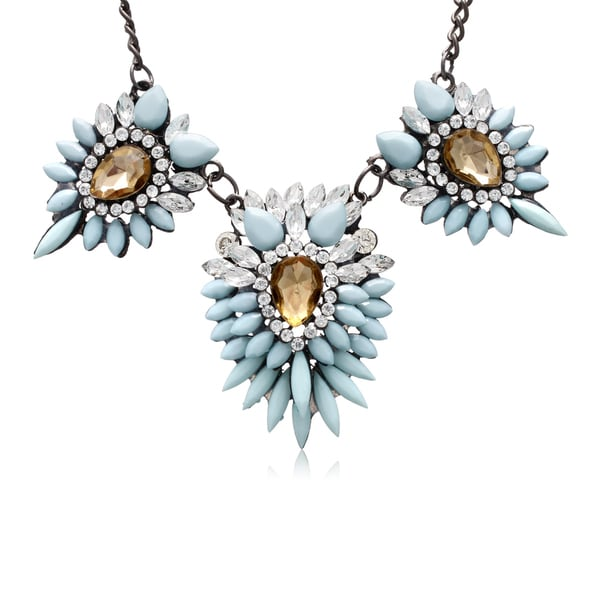 Passiana Blue Crystal Station Necklace
