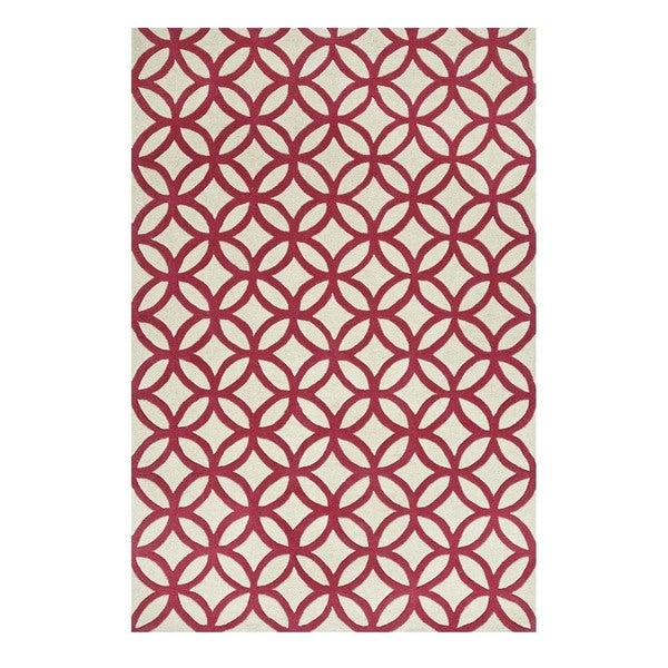 Hand-Tufted Contemporary Creamy White/Canterbury Wool (5x8) Area Rug