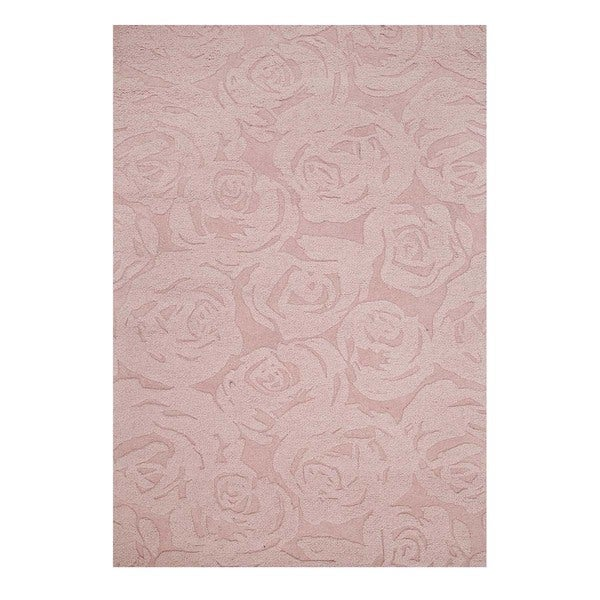 Hand-Tufted Contemporary Rose Smoke/Rose Smoke Wool (5x8) Area Rug