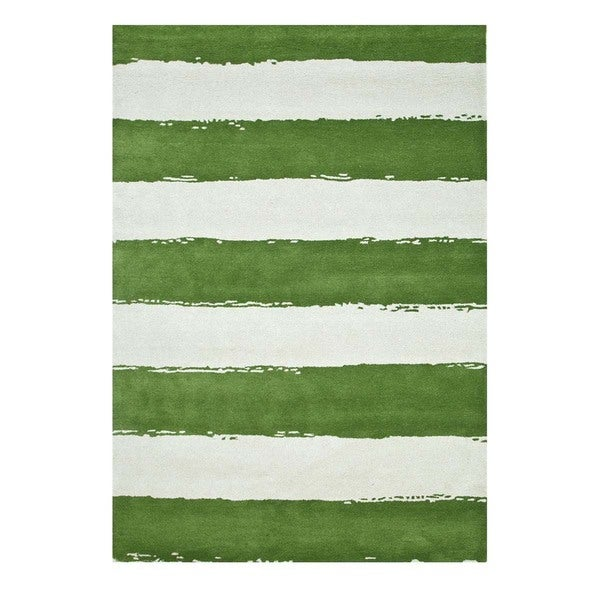 Hand-Tufted Contemporary Vibrant Green/White Wool (5x8) Area Rug