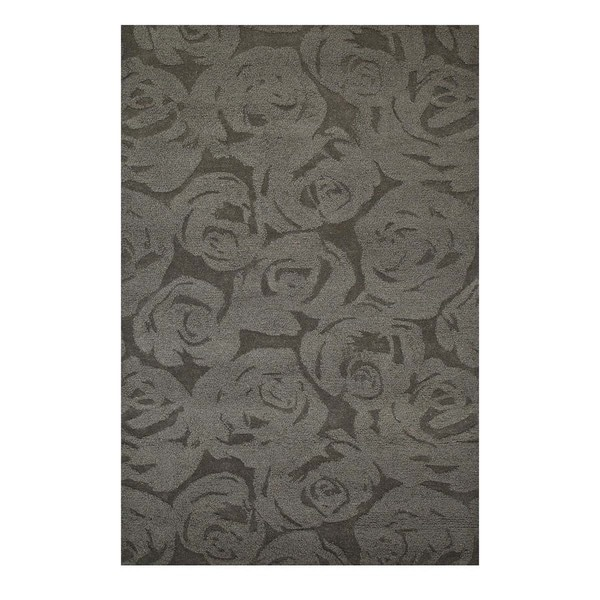 Hand-Tufted Contemporary Liquorice/Liquorice Wool (5x8) Area Rug