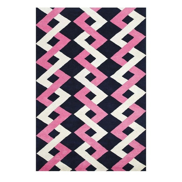 Hand-Tufted Contemporary Medieval Blue/Rose Bloom Wool (5x8) Area Rug