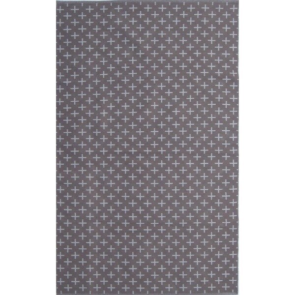 Flatweave Contemporary Grey/Grey Cotton (5x8) Area Rug