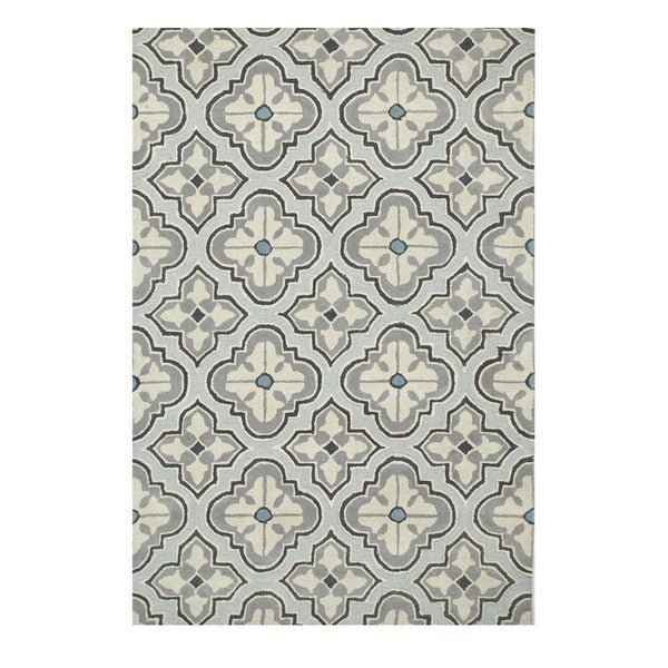 Hand-Tufted Classic Pastel Blue/Slate Blue Wool (5x8) Area Rug