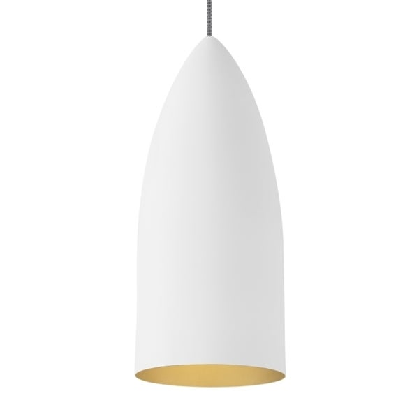 LBL Signal Rubberized White Exterior with Gold Interior LED Pendant