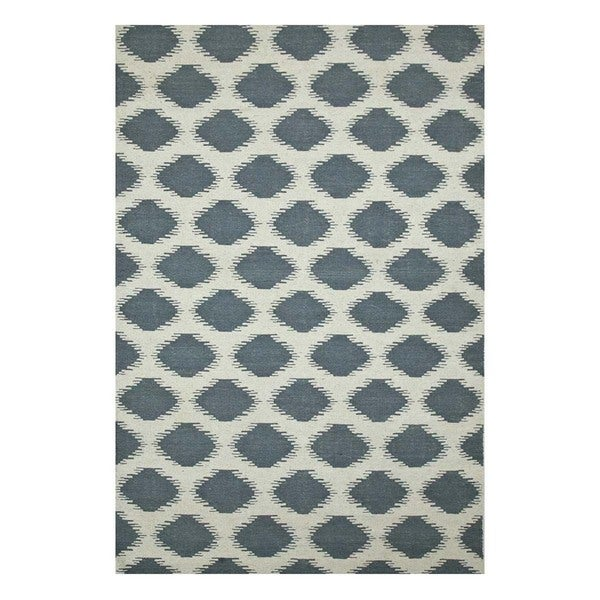 Flatweave Casual White/Milky Blue Wool (5x8) Area Rug