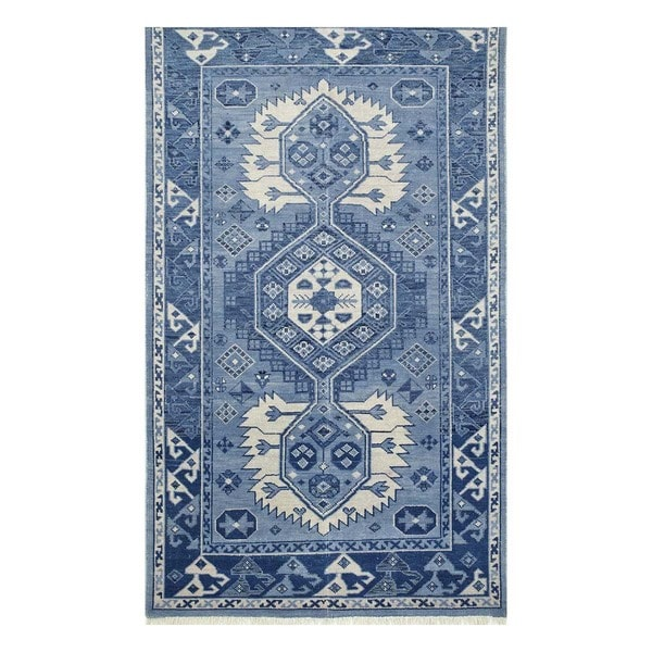 Hand-Knotted Transitional Dusky Blue/Postal Blue Wool (5x8) Area Rug