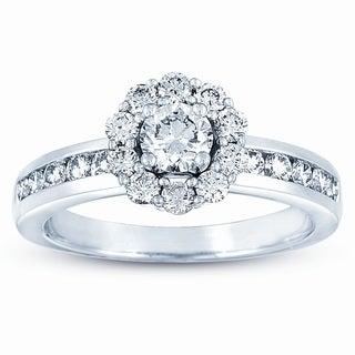 Eloquence 14k White Gold 1ct TDW Diamond Halo Engagement Ring (J-K, VS1-VS2)