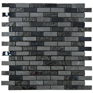 SomerTile 11.75x11.75-inch Parade Charcoal Peel and Stick Glass and Stone Mosaic Wall Tile (Case of 11)