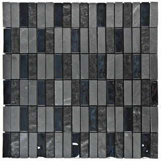 SomerTile 11.75x11.75-inch Stadium Charcoal Peel and Stick Glass and Stone Mosaic Wall Tile (Case of 11)