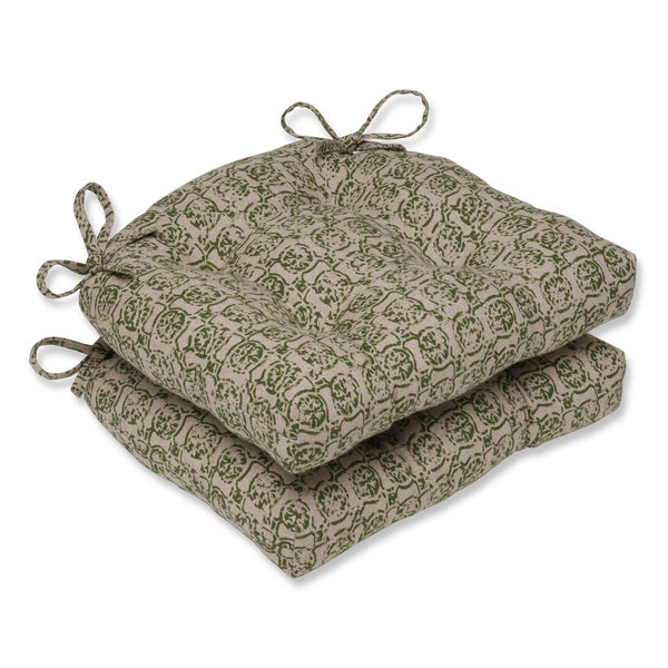 Pillow Perfect Castille Olive Reversible Chair Pad (Set of 2)