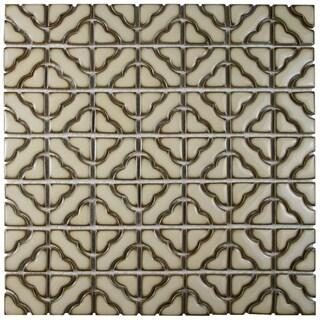 SomerTile 12.5x12.5-inch Obelisk Beige Porcelain Mosaic Floor and Wall Tile (Case of 10)