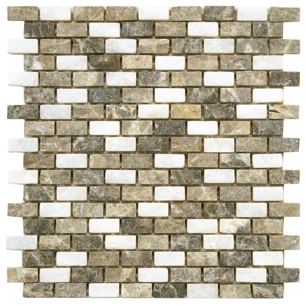 SomerTile 11.5x11.5-inch Boccaccio Subway Sand Natural Stone Mosaic Wall Tile (Case of 10)
