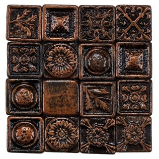 SomerTile 1x1-inch Rococo Square Copper Metallic Resin Wall Medallion Tile (Pack of 16)