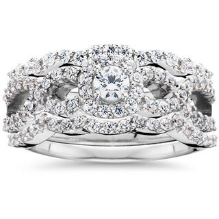 Bliss 10K White Gold 1 1/0 CT TDW Diamond Bridal Engagement Ring Set (I-JI/1-I2)