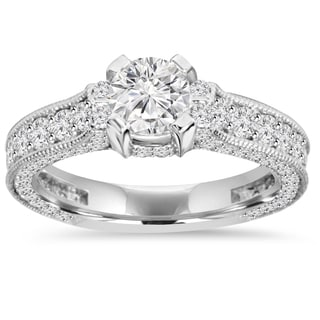 14k White Gold 1 5/ 8 ct. TDW Vintage Diamond Engagement Ring (I-J/ I2-I3)