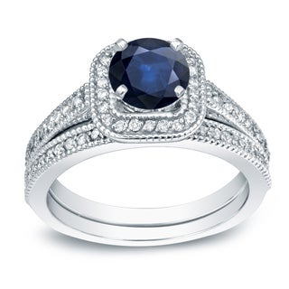 Auriya 14k Gold 2/5ct Blue Sapphire and 3/5ct TDW Round Diamond Bridal Ring Set (H-I, SI1-SI2)