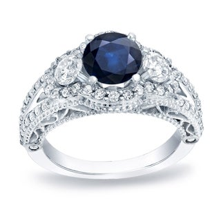 Auriya 14k Gold 3/4ct Blue Sapphire and 1 1/4ct TDW Round Diamond Engagement Ring (H-I, SI1-SI2)
