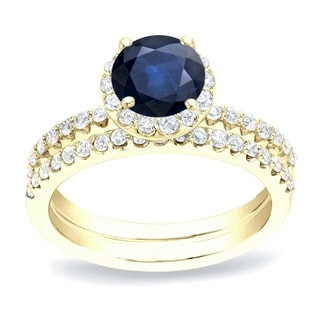 Auriya 14k Gold 1/2ct Blue Sapphire and 3/4ct TDW Round Diamond Bridal Ring Set (H-I, SI1-SI2)